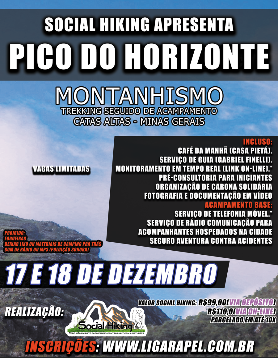 "Social Hiking – Pico do Horizonte – Catas Altas – MG ""Inscrições Abertas"""