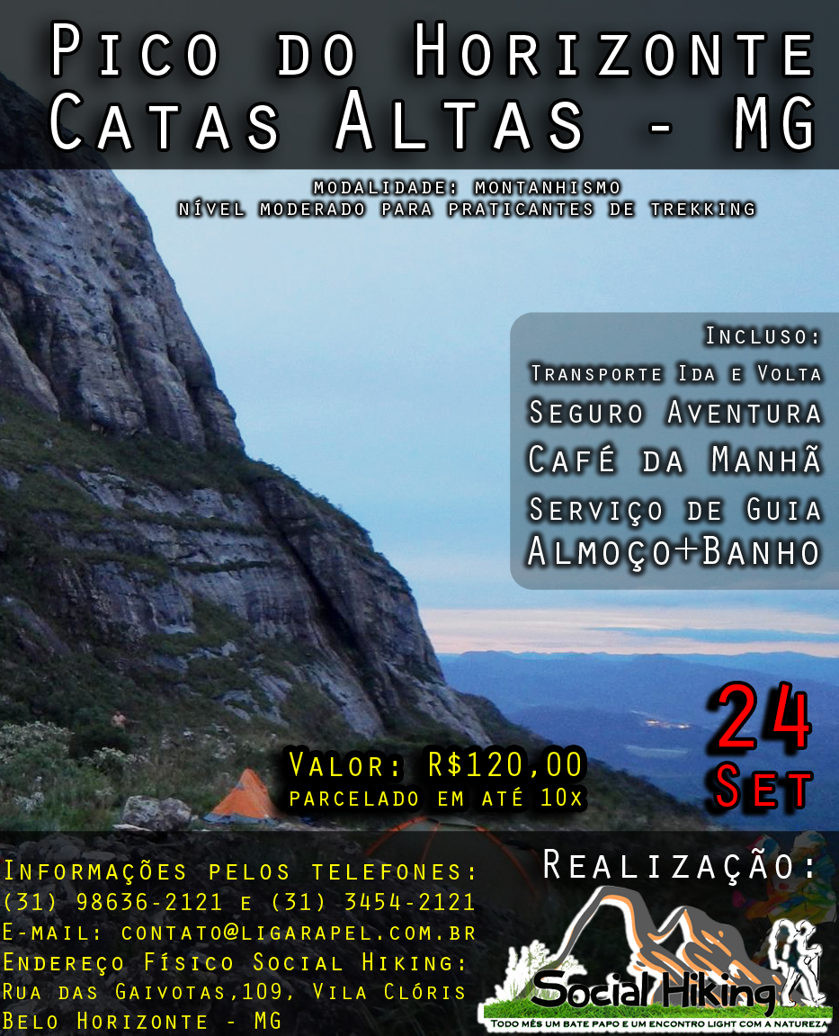 "Esgotado – Social Hiking – Pico do Horizonte – Catas Altas – MG ""Inscrições Abertas"""