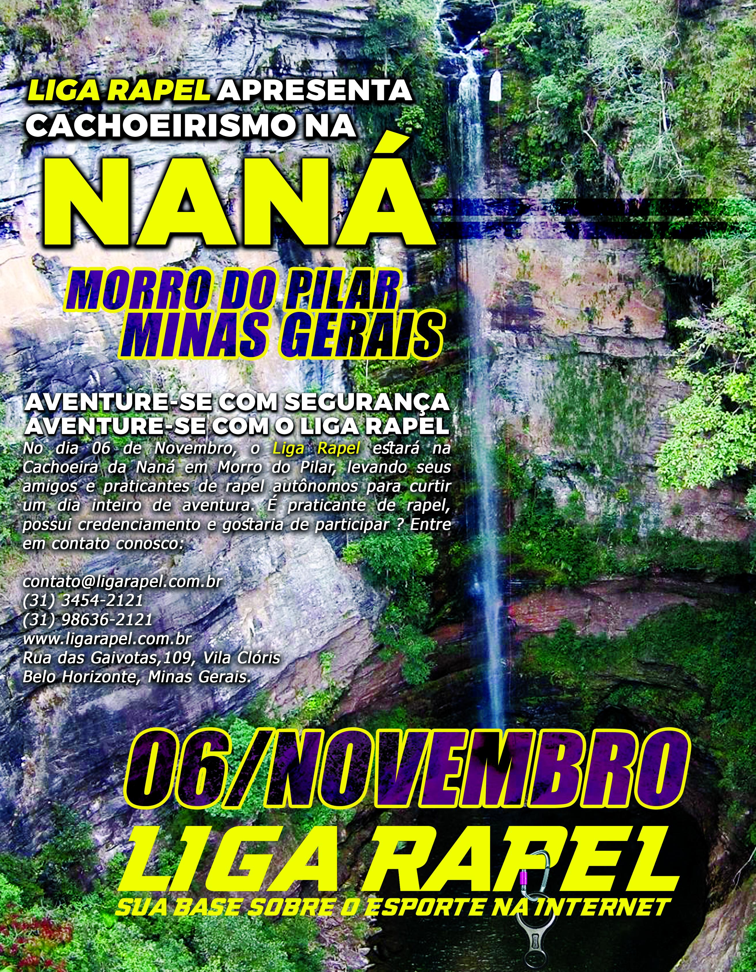 Evento – Rapel na Cachoeira da Naná – Morro do Pilar – Minas Gerais