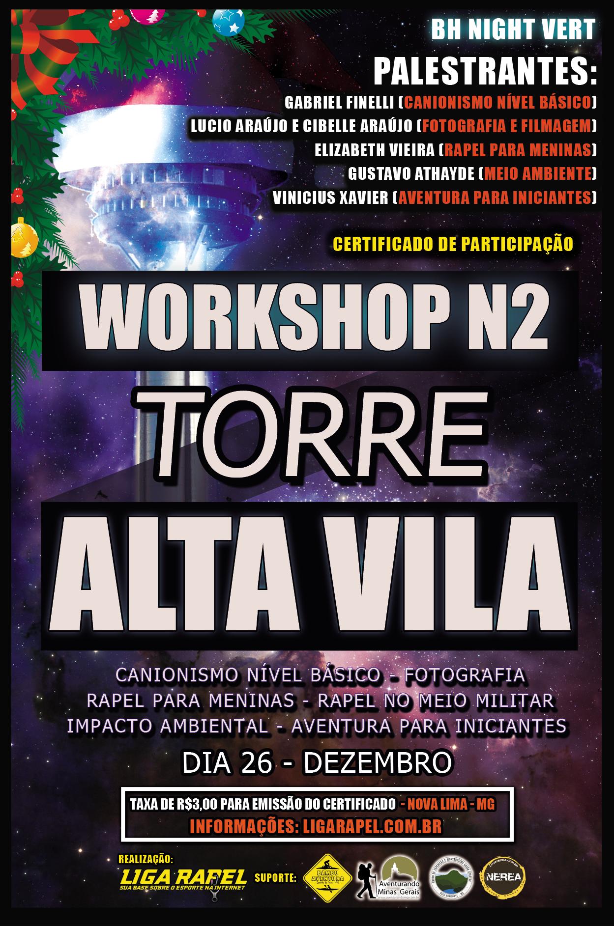 Workshop Nível 2 – Torre Alta Vila – Técnicas Verticais e Aventura