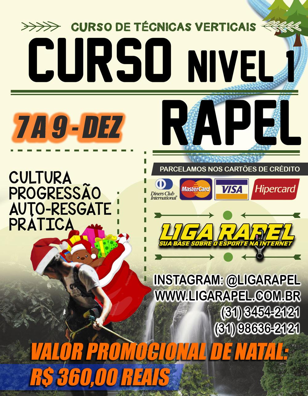 Curso de Rapel e Técnicas Verticais Nível 1 – Promoção de Natal LIGA RAPEL