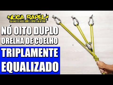 Nó Oito Duplo Orelha de Coelho Triplamente Equalizável para Rapel