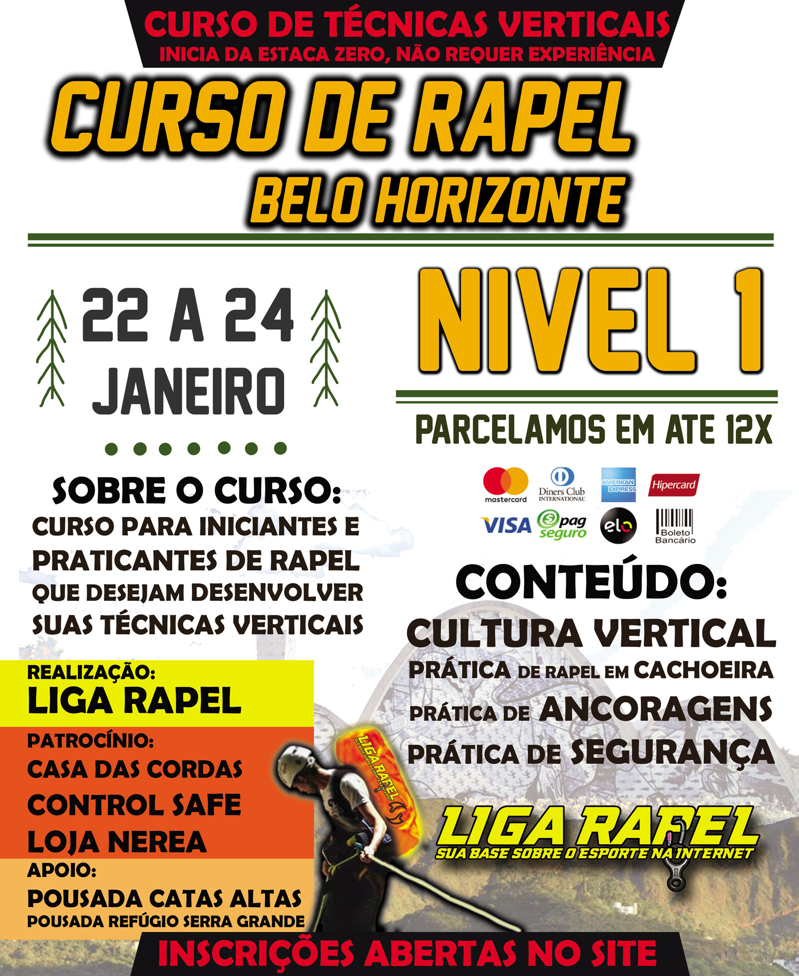 Curso de Rapel Nível 1 – Belo Horizonte